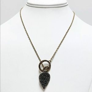 Lucky brand Crystal leaf pendant necklace Toggle